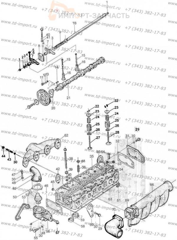Крышка цилиндра и газораспределительная система в сборе 495BPG