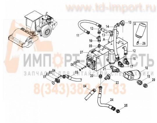 Гидравлическая система CLG614H шланги и фильтры подача и возврат